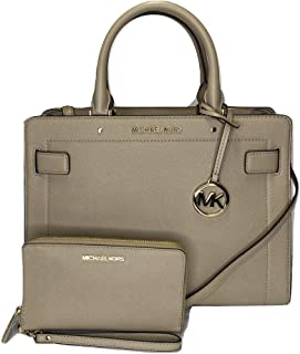 MICHAEL Michael Kors Rayne MD EW Satchel bundled with Michael Kors Jet Set Travel MD ZA Phone Holder Wallet (Bisque), Large