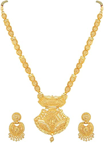 Ethnic Bridal Party One Gram Gold plated Forming Premium Rani Haar jwelery Long Necklace Wedding wear Jewellery Set for Women