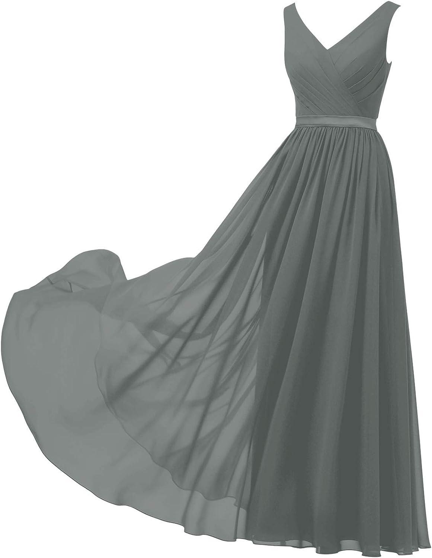 ALICEPUB V-Neck Chiffon Bridesmaid Dresses for Women Long Formal Dress for Wedding Party Evening Sleeveless