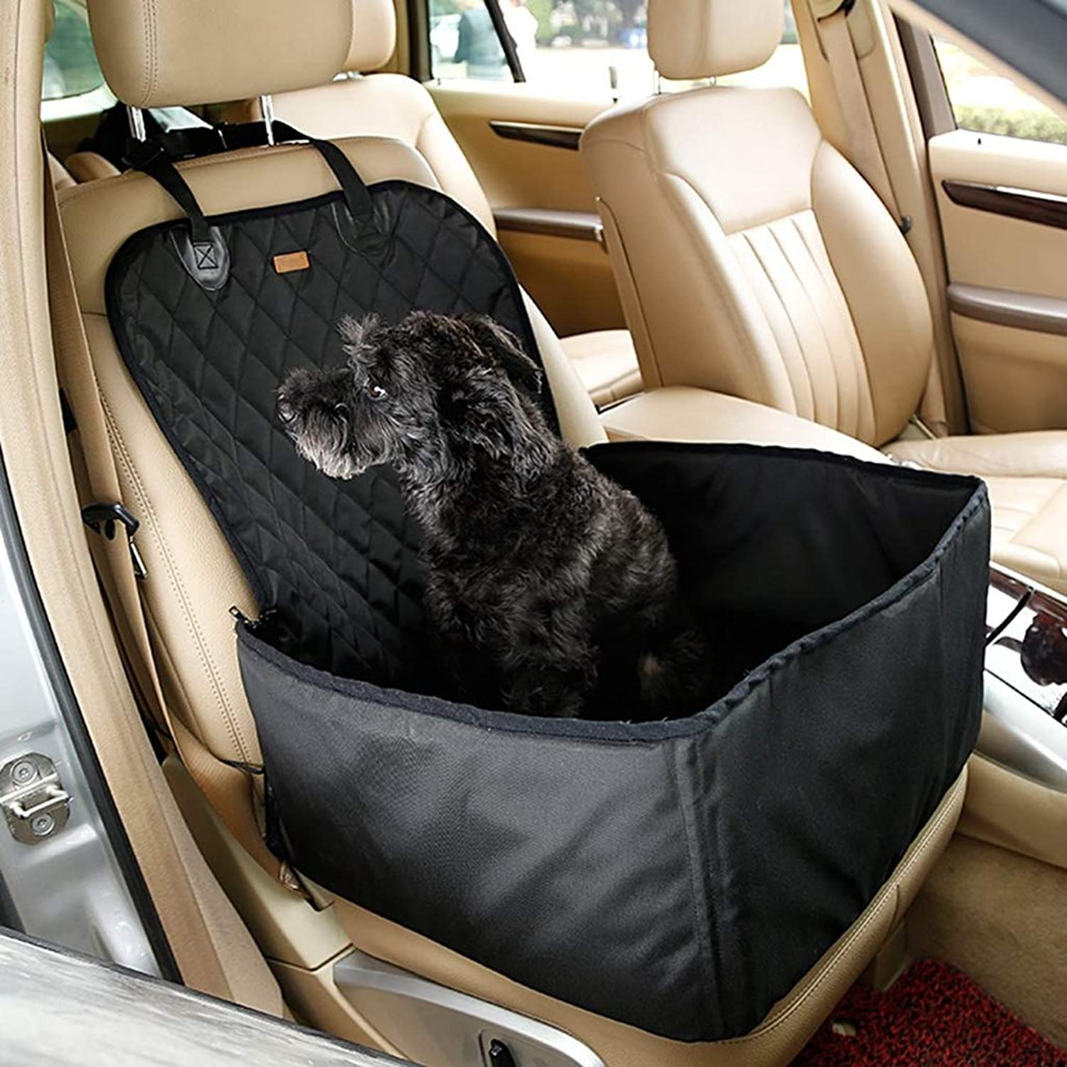 Pet Bucket Seat Cover Booster Seat 2 in 1 Deluxe Dog& Cat Front Seat Cover Cars Non Slip Backing Waterproof (Black)