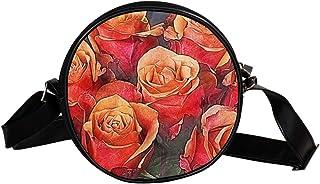 Coosun Umhängetasche mit Rosen-Motiv, kreativ, künstlerisch, rund, für Kinder und Damen