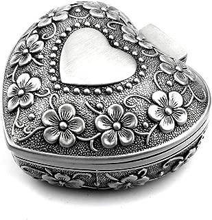 Luxuryseed Classic Vintage Smart Heart Shape Trinket Box Antique Silver Jewelry Box Small Trinket Storage Organizer Chest