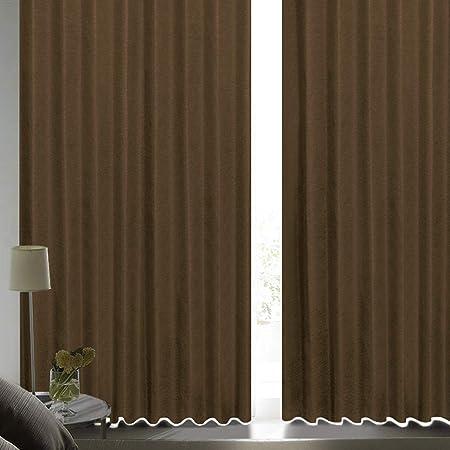 [カーテンくれない] 断熱・遮熱カーテン「静 Shizuka」完全遮光生地使用【形状記憶加工】遮音 防音効果で生活音を軽減 高断熱 静 遮光1級 全13色 色: チョコレート サイズ:(幅)100cm×(丈)200cm×2枚入 / Bフック/タッセル付き