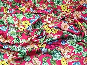 Floral Print Silky Satin Dress Fabric Cerise Pink - per metre