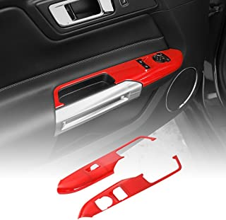 Red Door Handle Window Lift Button Decoration Frame Trim for Ford Mustang 2015 2016 2017