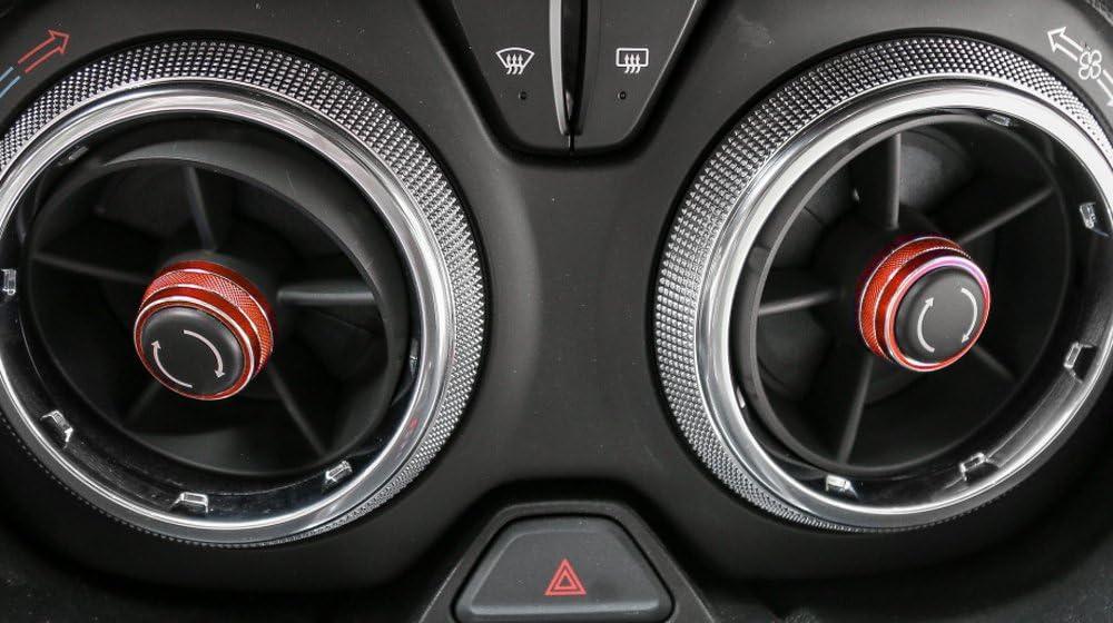 BORUIEN 7pcs//Set Aluminum Alloy Dash Board Panel Control Adjust Button Cover Ring Trim Frame for Chevrolet Camaro 2017+ red