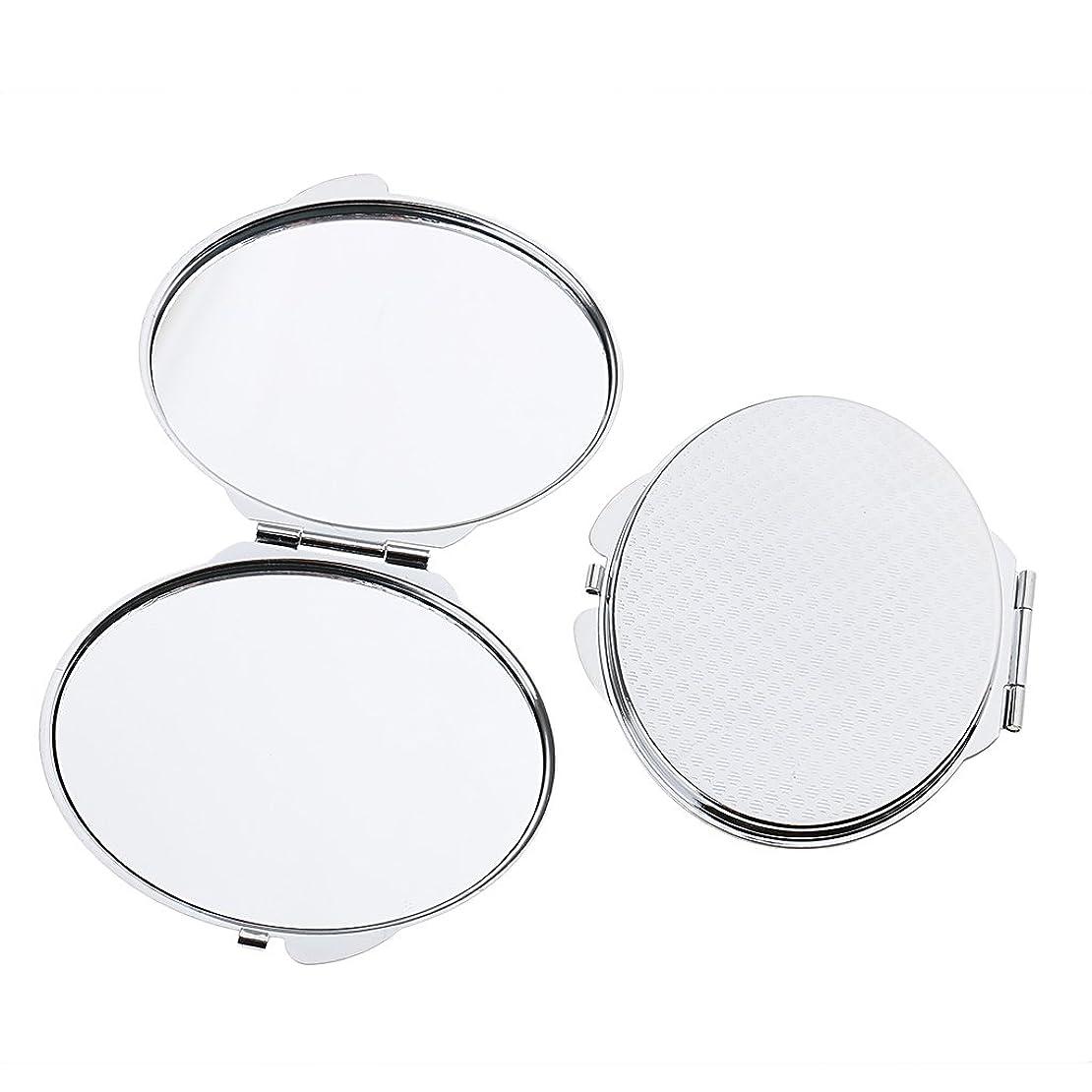 残酷なボーダーアーティキュレーションFenteer 2個入 ポケットメイクミラー メイクミラー ポータブル ダブル 折りたたみ 鏡 化粧鏡 2タイプ選べる - 丸い