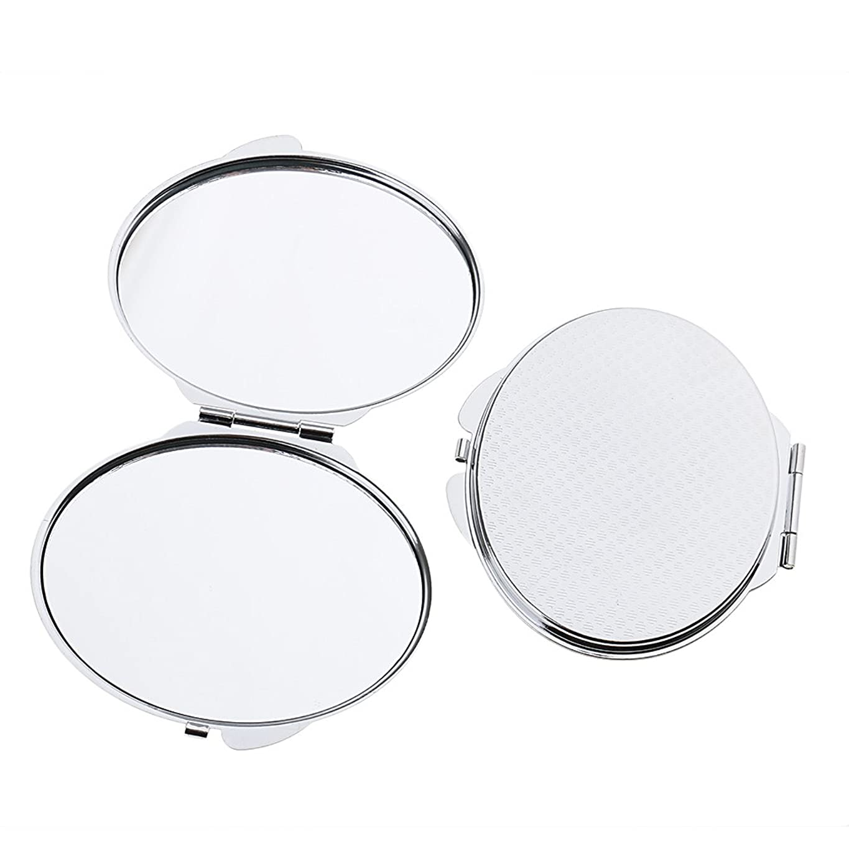 膜独立したテキストPerfk 2個入 メイクミラー ポケットサイズ ミラー 鏡 化粧鏡 両面 ダブル 折りたたみ 2タイプ選べる - 丸い