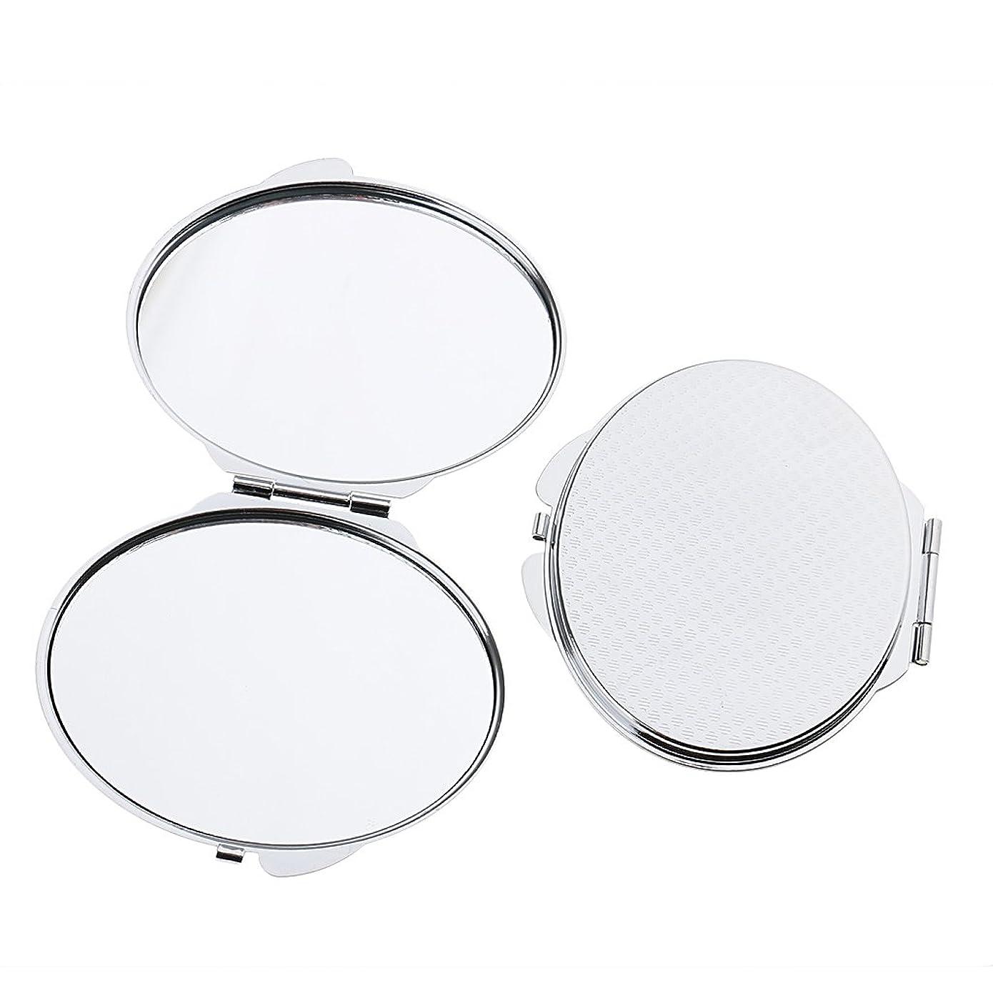 Fenteer 2個入 ポケットメイクミラー メイクミラー ポータブル ダブル 折りたたみ 鏡 化粧鏡 2タイプ選べる - 丸い