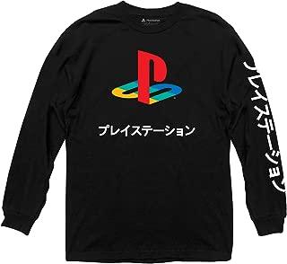 Sony Playstation Logo Japanese Kanji Adult Longsleeve T-Shirt