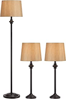 Griffith Traditional Table Floor Lamps Set of 3 Dark Bronze Metal Gold Fabric Drum Shade for Living Room Family Bedroom - Regency Hill