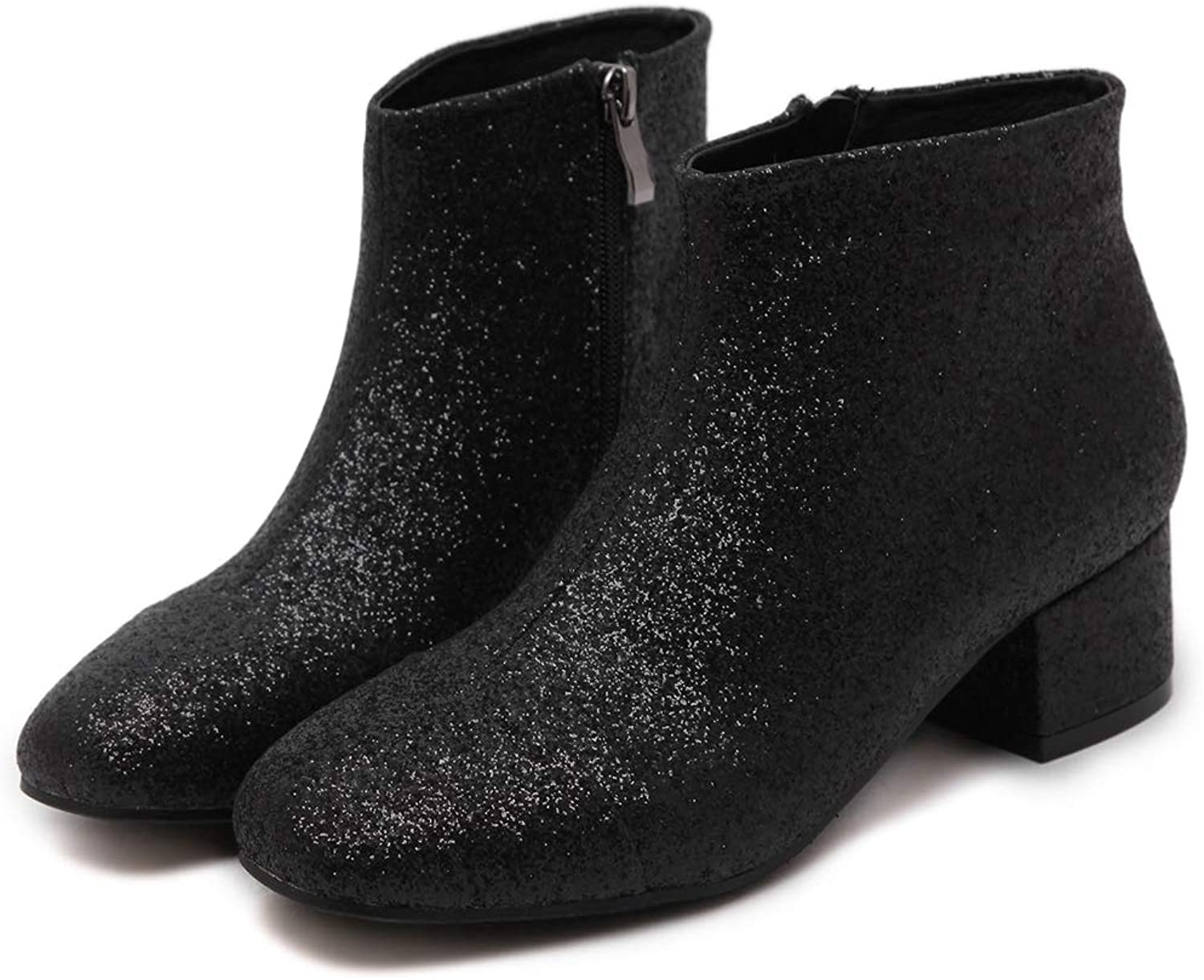 Sam Carle Women Boots, Solid color Elastic Stretchy Sock Pointed Toe Thick Heel Ankle Boot