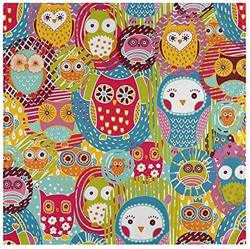 Juego de 4, lindas y coloridas servilletas de tela de búhos y pájaros, servilletas de poliéster lavables, servilletas de mesa suaves y reutilizables para el hogar, Navidad, fiestas, bodas, 50 x 50