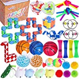 Max Fun 36Pack Sensory Fidget Toys Set Stress Relief Anti-Anxiety Tools Toys for Kids Adult Children Squeeze Bean, Marble Mesh, Flippy Chain, Grape Ball, Maze Cube