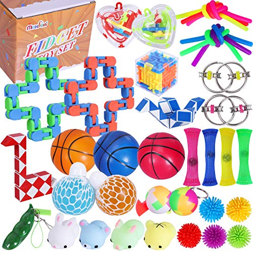 Max Fun 36Pack Sensory Fidget Toys Set Stress Relief AntiAnxiety Tools Toys for Kids Adult Children Squeeze Bean Marble Mesh Flippy Chain Grape Ball Maze Cube