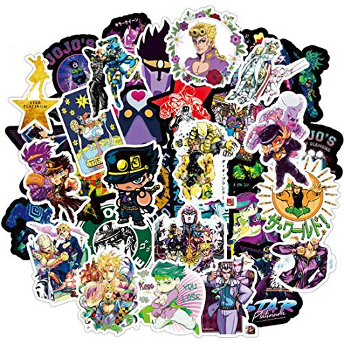 JoJo's Bizarre Adventure Japanese Anime Stickers of 50 Cute Girl and Lovely Boy Sticker Laptop Computer Bedroom Wardrobe Car Skateboard Motorcycle Bicycle Mobile Phone Luggage Guitar DIY Decal