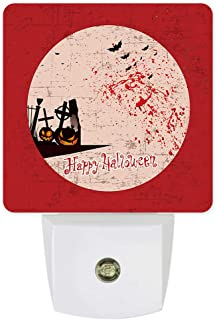 Plug-in Night Lights Retor Red Evil Pumpkin and Flying Bats Halloween Element LED Night Lamp with Auto Dusk-to-Dawn Sensor Warm White Light& Ultra Low Power for Bedroom/Bathroom/Hallway/Kid's Room