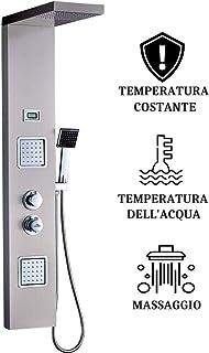 AuraLum Columna de Ducha Termostático, Hidromasaje (Acero Inoxidable), Claramente Muestra la Temperatura del Agua Multifuncional [Energy Class A ++]