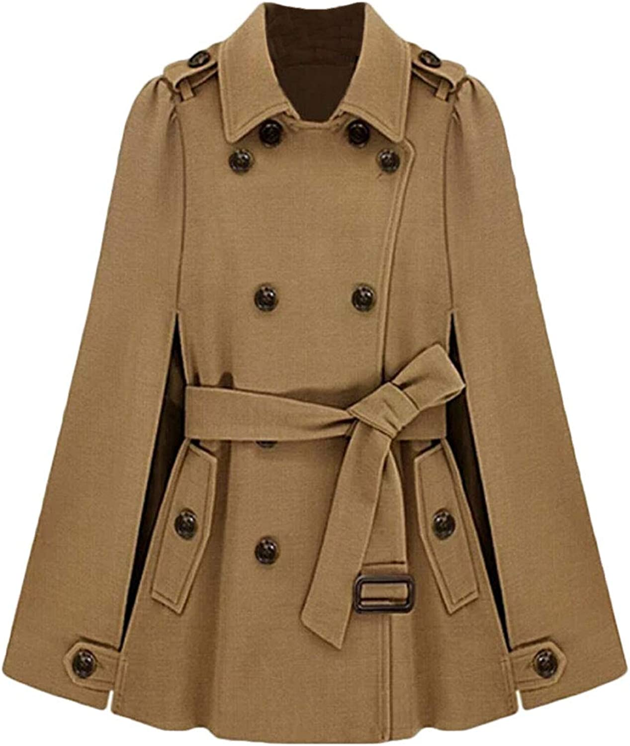 Hmarkt Womens Belted Poncho DoubleBreasted Woolen Basic Long Trench Coat