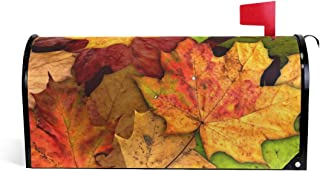 """Naanle Autumn Magnetic Mailbox Cover, Fall Leaves Mailbox Wrap Home Decorative for Standard Size 20.8""""(L) x 18""""(W)"""