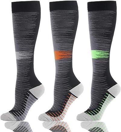 HLTPRO Compression Socks for Men & Women 20-25 mmHg - 3 to 6 Pairs Graduated Compression Stockings Best for Running, Nurses, Shin Splints, Flight Travel & Maternity Pregnancy