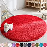 Soft Round Area Rug for Bedroom,4 ft Red Circle Rug for Nursery Room, Fluffy Carpet for Kids Room, Shaggy Floor Mat for Living Room, Furry Area Rug for Baby, Teen Room Decor for Girls Boys
