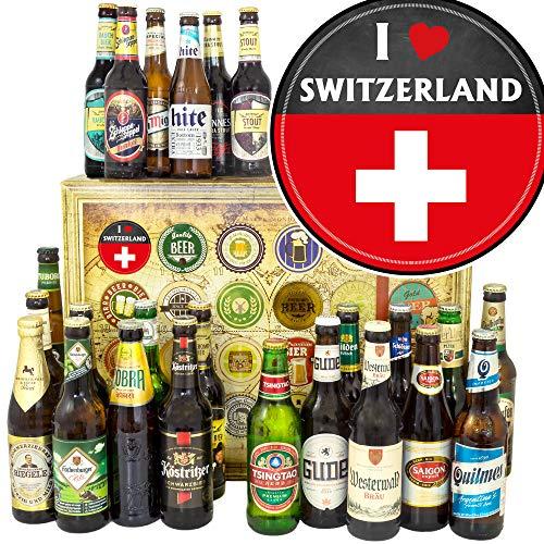 I love Switzerland - Geschenk Schweiz - Biere aus aller Welt und D 24x / Weihnacht Kalender Bier