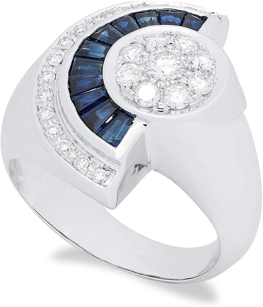 B.&c. gioielli anello donna ventaglio completamente fatto a mano in oro bianco 18kt, diamanti e zafiri an07