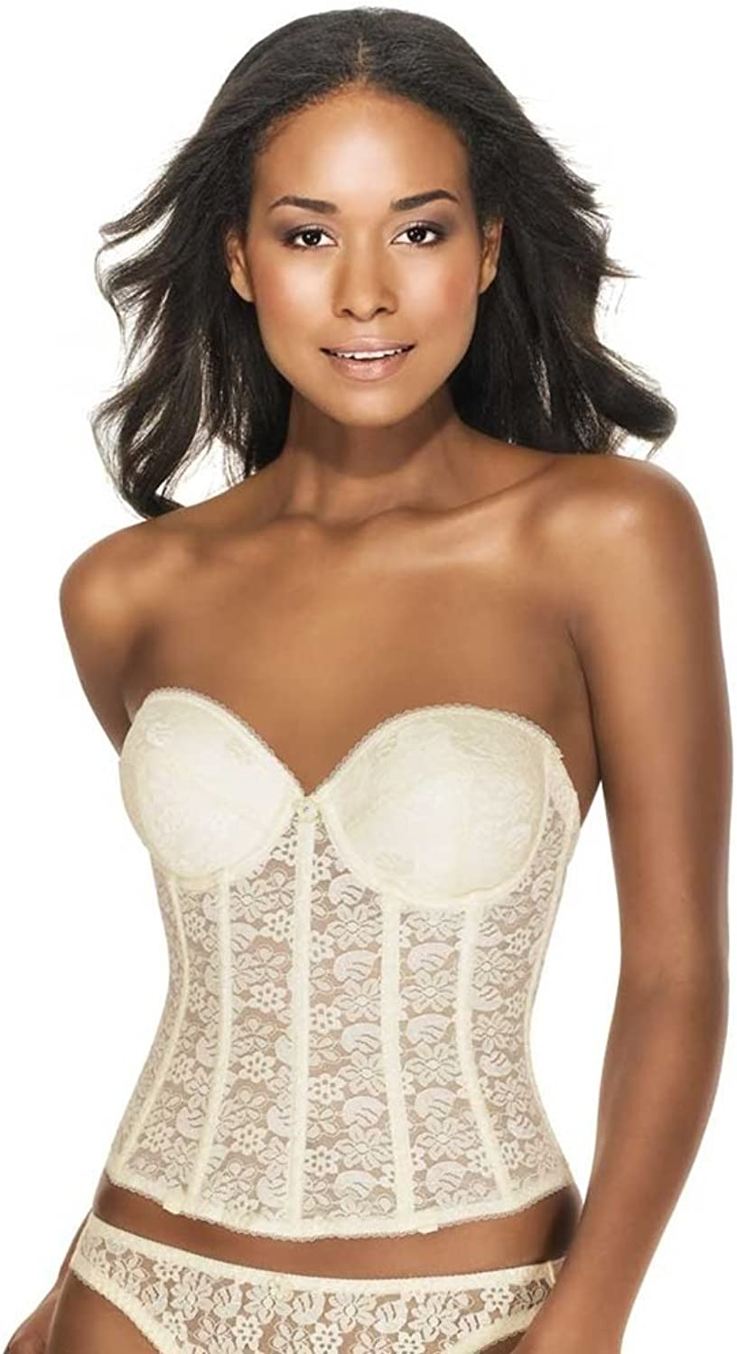 Dominique Lace Low Back Plunge Strapless Push Up Bustier Style 7759  Ivory  34B