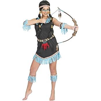 Disfraz de india flecos azules para mujer S: Amazon.es: Juguetes y ...