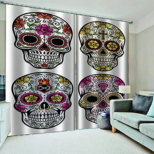 WAFJJ Cortinas Visillos 2 Piezas Flores y Calaveras 3D Cortinas con Ojales Privacidad Cortinas Poliéster Ventana para Dormitorio Sala Cuarto Comedor Tamaño:2x110x215cm(An x Al)