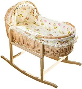 Wooden Baby Cot Bed Toddler Bed Portable Shopping Basket Rattan Sleeping Basket Cradle Crib Baby  Color Natural  Size 90cm