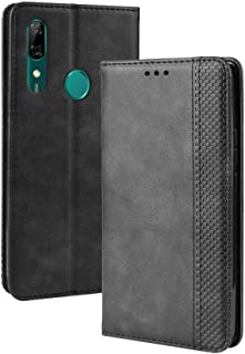 LAGUI Compatible for Huawei Honor 9X Case, Retro Style Wallet Magnetic Cover with Credit Card Slots and Flip Stand. black