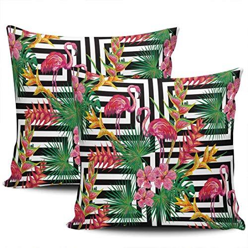 CDMT-XU1 Almohada Decorativa para el hogar, Moderna Jungla de Verano con Hojas de Palmera y Flores de Flamenco, Fundas de con 18 x 18 Pulgadas, Juego de 2