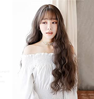 Skjfdmiy Long Curly Hair Big Wave Korean Hair Fashion Corn Hot Chemica Fiber Wigs Headgear Wavy Wigs Glueless Synthetic Wig Middle Parting Wavy Wig For Women Heat Resistant 22 Inches