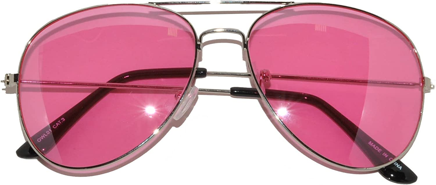 Classic Aviator Style Sunglasses Pink Gradient Lens Metal Silver Frame for Women