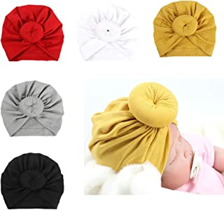 DANMY Baby Girl Hat with Rabbit Ears Toddlers Soft Turban Knot Bow Cap