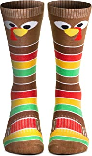 Holiday Woven Knee-High Socks | Thanksgiving Goofy Turkey With Stripes | Multiple Sizes
