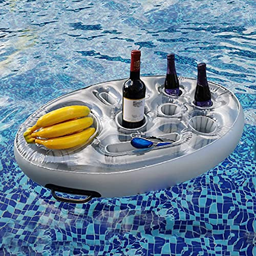 ORTUH Portabrocas inflables portátiles para piscina inflable piscina bebida taza titular flotante bandeja para bañera de hidromasaje -plata