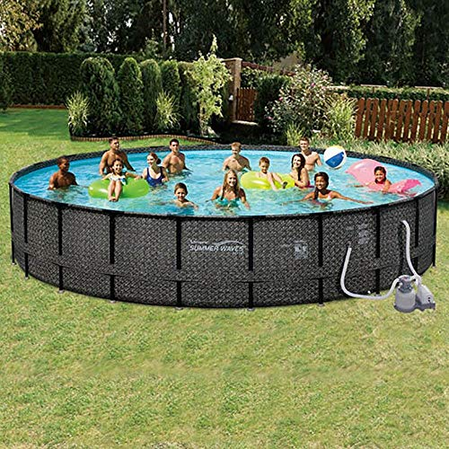 Best Summer Waves Pool Reviews - ​​Summer Waves 24ft x 52in Elite Wicker Round Above Ground Frame Outdoor Swimming Pool