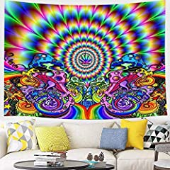 【Tapestry Material】wtisan Psychedelic tapestry is well crafted with high quality polyester fiber, very durable and skin-friendly 【Adopt advanced HD print】wtisan tapestry using advanced HD pattern printing technology, this colorful gouache tapestry wi...