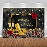 Mocsicka Red Rose Gold High Heels Birthday Backdrop 7x5ft Leopard Print Women's Birthday Party Banner Photography Background Gold Glitter Birthday Photo Backdrops