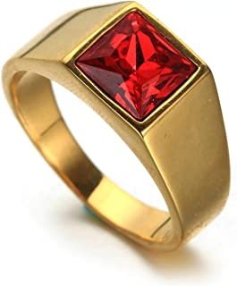 Aooaz Stainless Steel Ring Band Gold Ring with Square Cubic Zirconia Gothic Necklaces Size 7-12