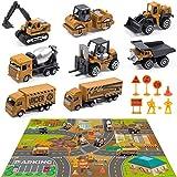 DigHealth Set pour Jouet de Camion de Chantier Con 82×71cm Tapis de Jeu, 8 Mini Vehicules de Construction et 8 Panneaux Routiers, Jouet de Voiture de Chantier pour Enfant et Garcon de 3 4 5 6 7 Ans