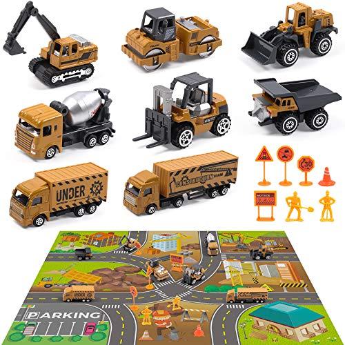 DigHealth Set de Vehículos de Construcción de Juguete con 82×71cm tapete de Juego, 8 Mini Camiones de Juguetes, 8 Señales de Seguridad Vial, Regalo de Coches de Ingeniería para Niños 3 4 5 6 7 Años