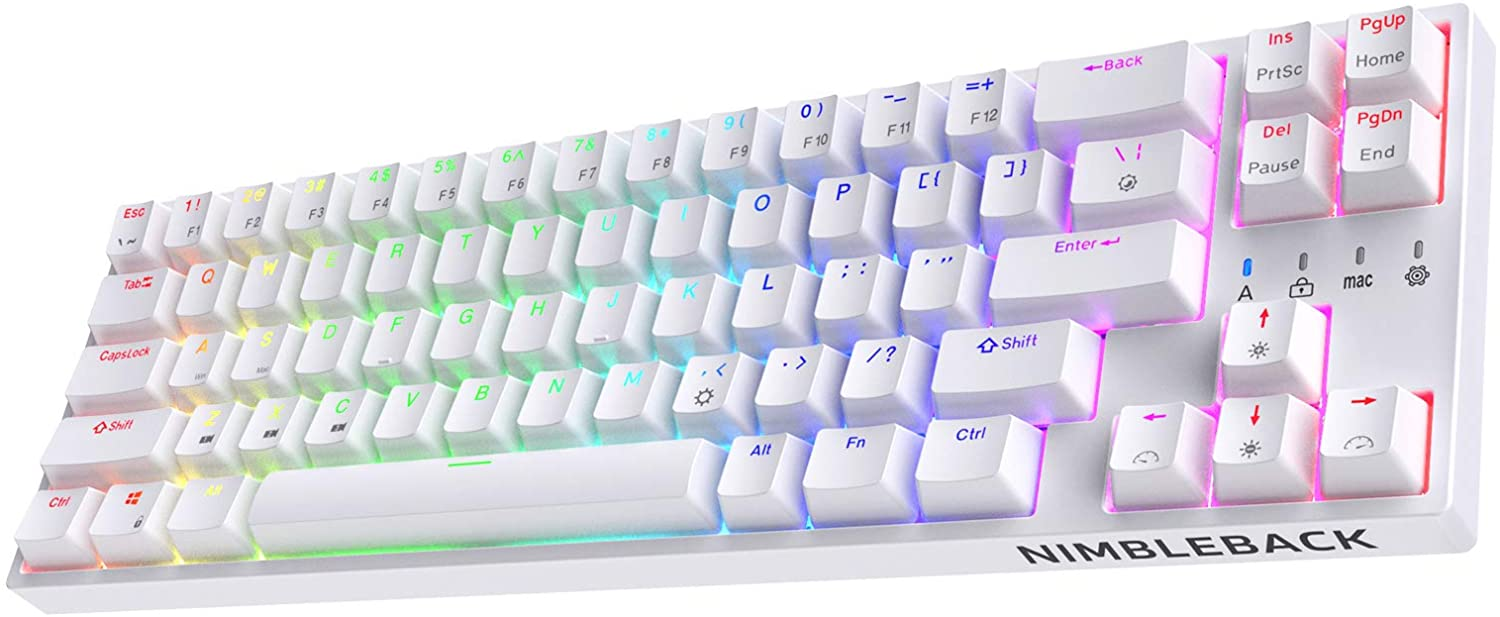 LTC NB681 Nimbleback Wired 65% Layout Mechanical Keyboard, RGB Backlit Ultra-Compact 68 Keys Gaming Keyboard with Hot-Swappable Tactile Blue Switch and Stand-Alone Arrow/Control Keys, White
