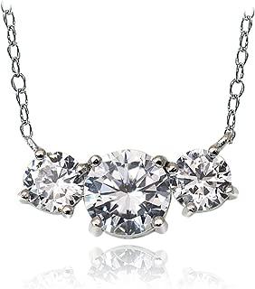 Ice Gems Sterling SilverCubic Zirconia Three Stone Necklace