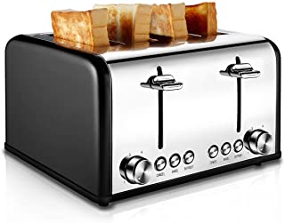 Toaster 4 Slice, CUSIBOX Stainless Steel Toaster with Bagel, Defrost, Cancel Function, Extra Wide Slots, 6 Bread Shade Set...