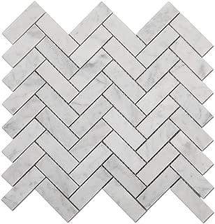 Diflart Carrara White 1x3 inch Herringbone Marble Mosaic Tile Honed 5 Sheets/Box