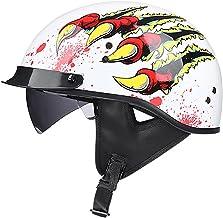 Vintage Open Gezicht Motorhelmen Halve Helm Duitse Stijl met Zonneklep Volwassenen Mannen en Vrouwen Licht Bromfiets Helm ...